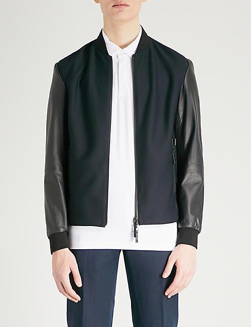EMPORIO ARMANI Emporio Armani mesh front leather jacket