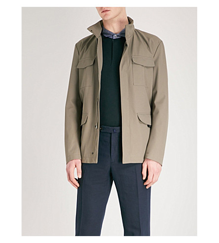 EMPORIO ARMANI Pocket-detail twill jacket (Beige
