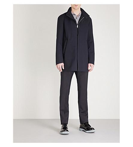 EMPORIO ARMANI Stand-collar woven jacket (Navy