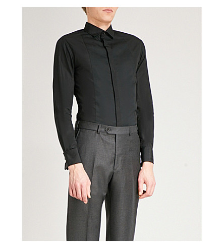 EMPORIO ARMANI Ribbed-bib regular-fit cotton evening shirt (Black