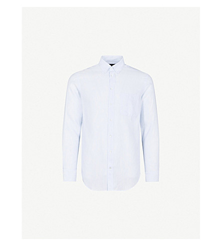 EMPORIO ARMANI Striped modern-fit linen and cotton-blend shirt (Sky+blue
