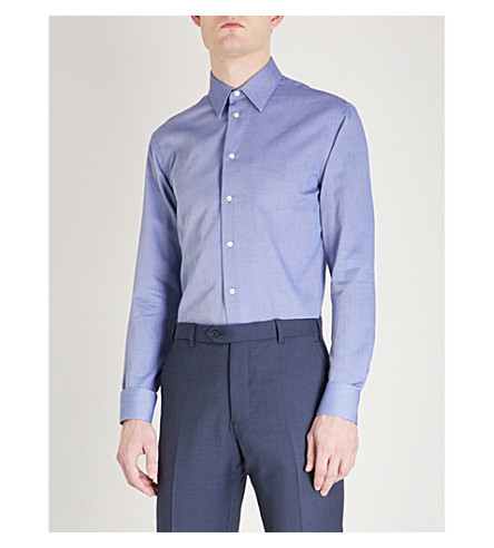 EMPORIO ARMANI Dash-patterned modern-fit cotton shirt (Blue