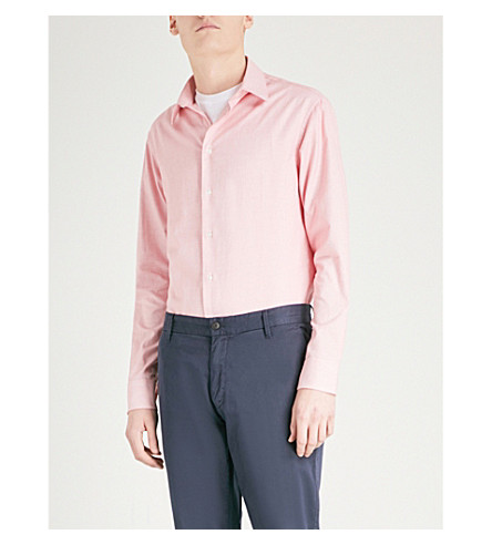 EMPORIO ARMANI Dash-patterned modern-fit cotton shirt (Coral