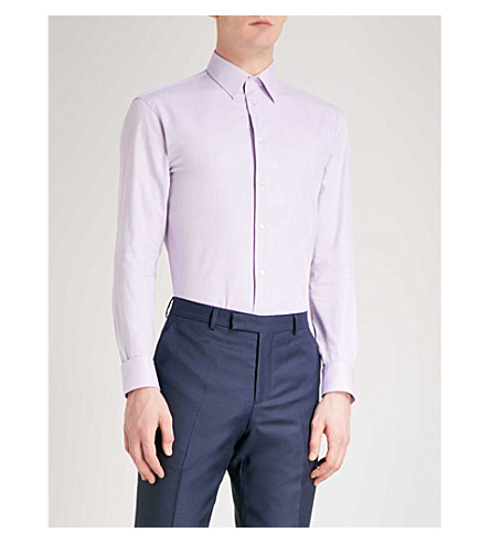 EMPORIO ARMANI Modern-fit cotton Oxford shirt (Lilac