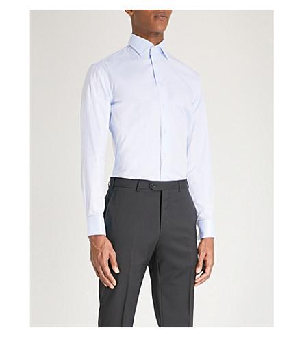 EMPORIO ARMANI Slim-fit cotton royal oxford shirt (Sky