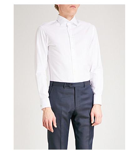ARMANI COLLEZIONI Slim-fit cotton royal oxford shirt (White