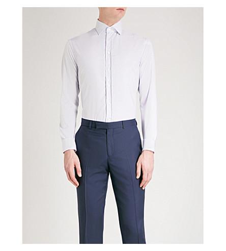 EMPORIO ARMANI Striped modern-fit stretch-cotton shirt (Blue/white