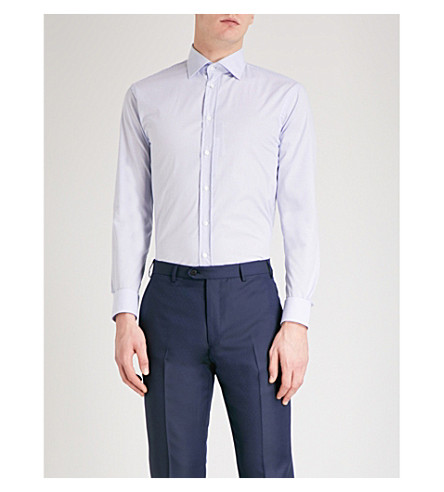 EMPORIO ARMANI Checked modern-fit stretch-cotton shirt (Blue/white