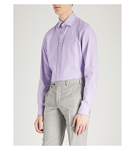 EMPORIO ARMANI Emporio Armani mini check cotton shirt (Lilac