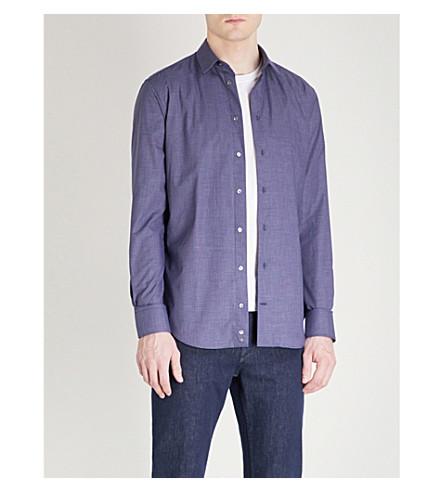EMPORIO ARMANI Micro-checked slim-fit cotton shirt (Navy