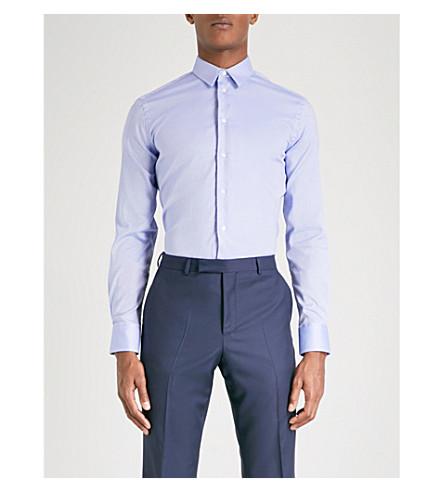 EMPORIO ARMANI Birdseye-weave slim-fit stretch-cotton shirt (Sky+blue