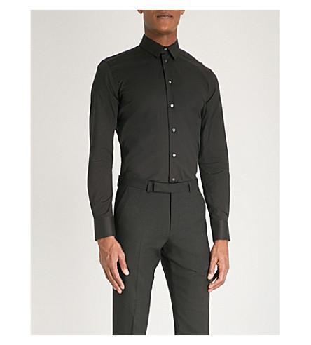 EMPORIO ARMANI Slim-fit stretch-cotton shirt (Black