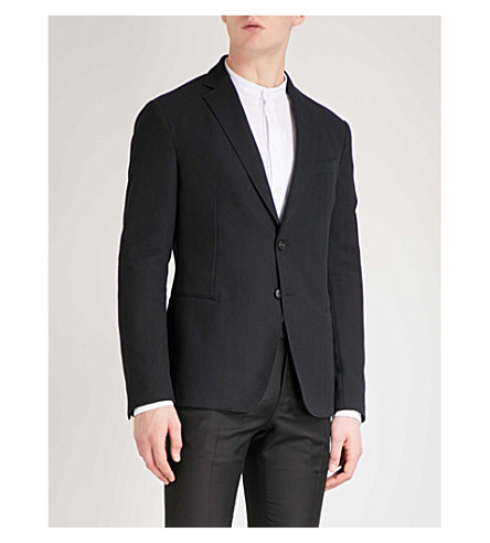 EMPORIO ARMANI Tailored-fit herringbone cotton-blend jacket (Black