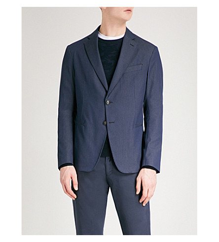 EMPORIO ARMANI Honeycomb-jacquard tailored-fit cotton-blend jacket (Blue