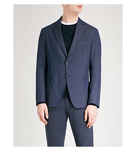 EMPORIO ARMANI 蜂窝提花配棉混纺夹克 (蓝色