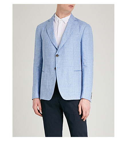 EMPORIO ARMANI Regular-fit linen-blend jacket (Light+blue