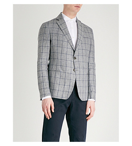 EMPORIO ARMANI Checked slim-fit linen jacket (Grey