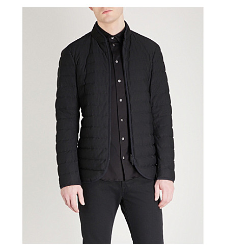 EMPORIO ARMANI Quilted mesh puffer jacket (Black