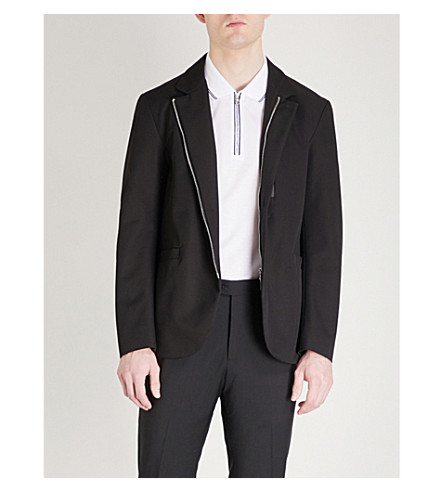 EMPORIO ARMANI Stand-collar woven jacket (Black