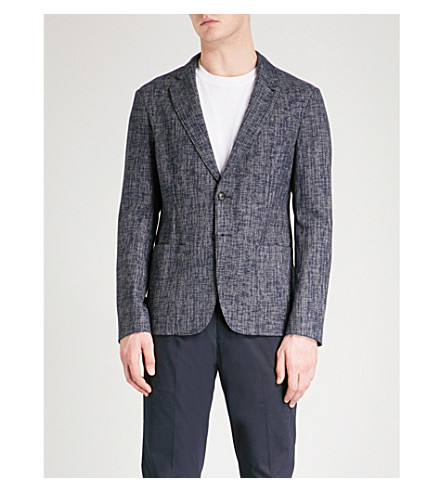 EMPORIO ARMANI Hopsack-weave tailored-fit cotton-blend jacket (Blue
