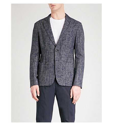ARMANI COLLEZIONI Hopsack-编织适合的棉混纺夹克 (蓝色