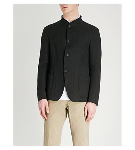 EMPORIO ARMANI Linen-blend seersucker Nehru jacket (Black