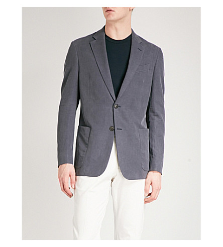 EMPORIO ARMANI Regular-fit hopsack jacket (Blue
