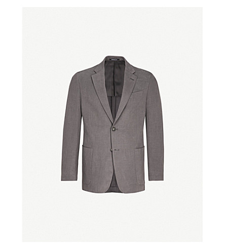 EMPORIO ARMANI Regular-fit hopsack jacket (Dark+grey