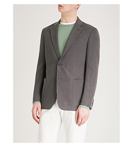EMPORIO ARMANI Regular-fit hopsack jacket (Dark+grey