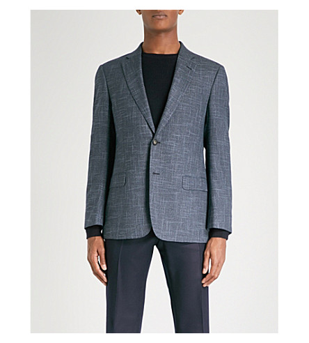 ARMANI COLLEZIONI Tailored-fit textured jacket (Blue
