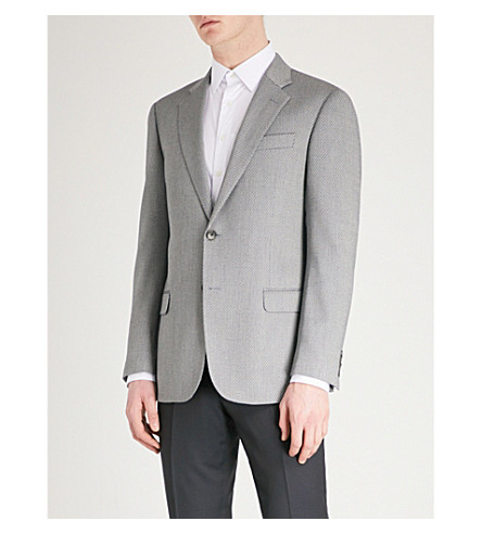 EMPORIO ARMANI Chevron-pattern woven jacket (Grey
