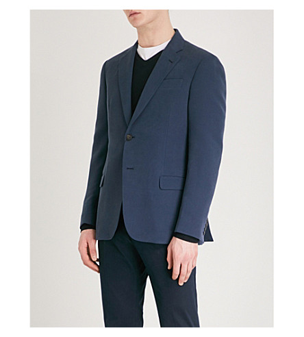 EMPORIO ARMANI Regular-fit woven suit jacket (Blue