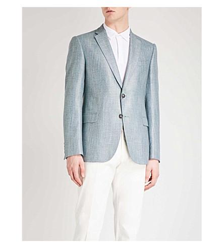 EMPORIO ARMANI Modern-fit woven jacket (Aqua