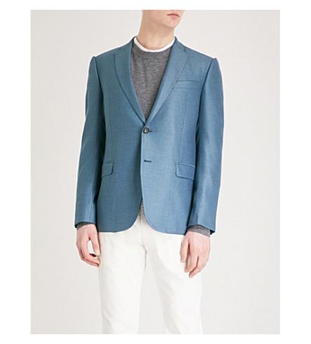 EMPORIO ARMANI Modern-fit woven suit jacket (Blue