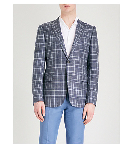 EMPORIO ARMANI Checked modern-fit wool and silk-blend jacket (Blue
