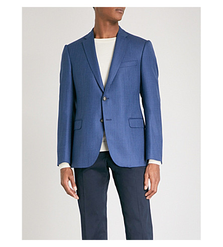 EMPORIO ARMANI Micro geometric-patterned tailored-fit wool jacket (Blue