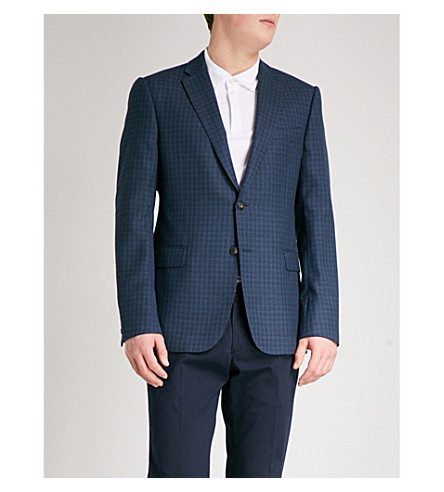 EMPORIO ARMANI Checked tailored-fit wool jacket (Navy