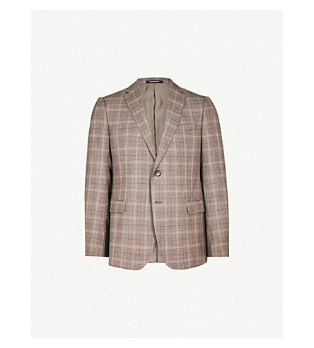 EMPORIO ARMANI Checked modern-fit wool silk and linen-blend jacket (Brown