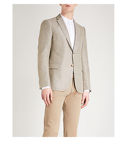 EMPORIO ARMANI Modern-fit linen and wool-blend jacket (Beige