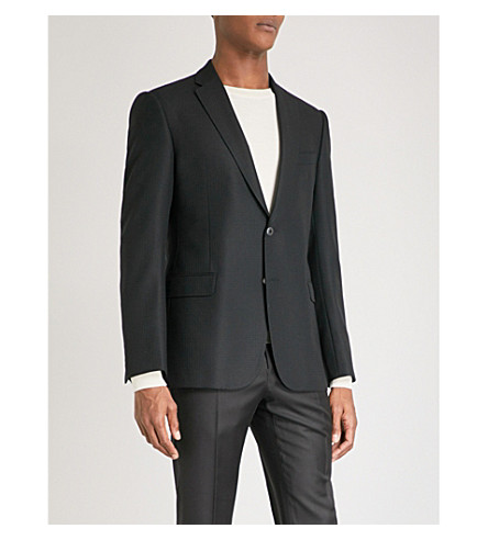 EMPORIO ARMANI Basketweave tailored-fit woven jacket (Black