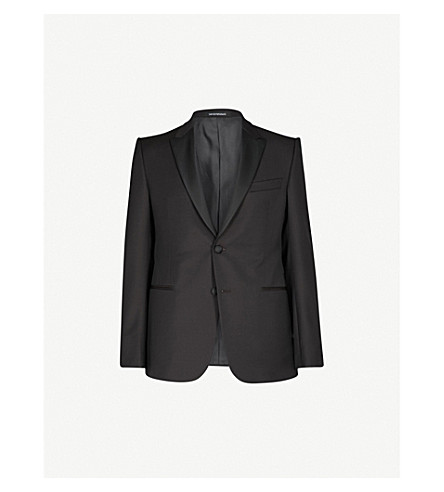 EMPORIO ARMANI Regular-fit wool tuxedo jacket (Burgundy
