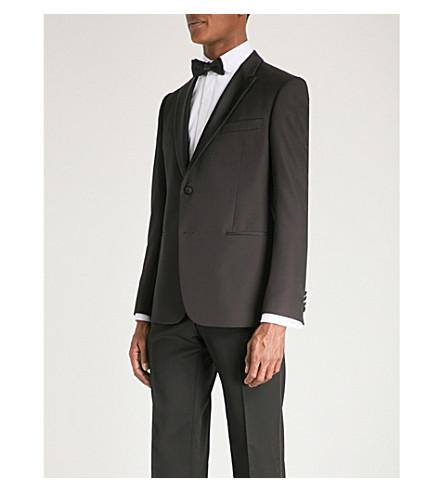 EMPORIO ARMANI Regular-fit wool tuxedo jacket (Burgundy