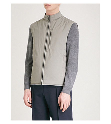 EMPORIO ARMANI Quilted shell gilet (Beige
