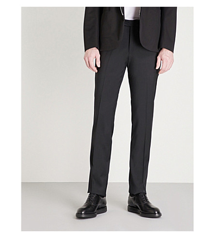 EMPORIO ARMANI Tailored-fit straight wool trousers (Black