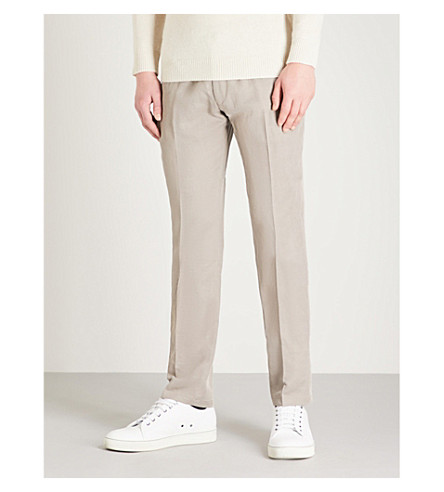 EMPORIO ARMANI Tailored-fit straight woven trousers (Beige