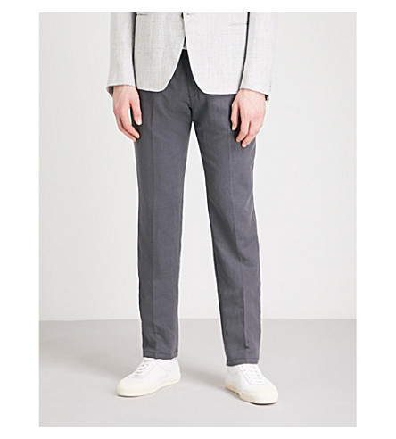 EMPORIO ARMANI Tailored-fit straight woven trousers (Blue