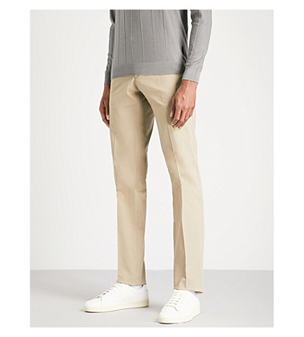 EMPORIO ARMANI Slim-fit tapered cotton-twill chinos (Beige
