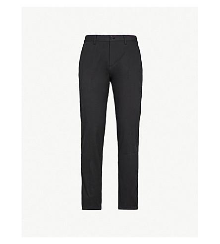 EMPORIO ARMANI Slim-fit tapered cotton-twill chinos (Black