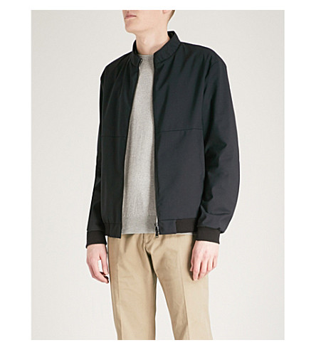 EMPORIO ARMANI Wool-blend Harrington bomber jacket (Navy