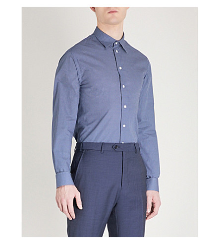 EMPORIO ARMANI Diamond-patterned regular-fit cotton shirt (Blue